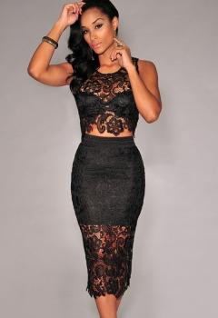 Black-Floral-Lace-Skirt-Set-LC6798-2